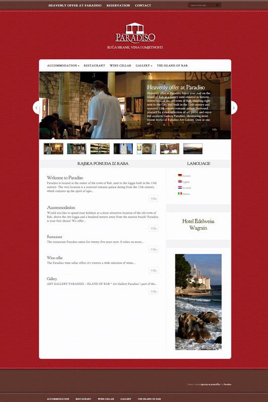 Izrada web stranice za kompleks restoran, apartmani, galerija