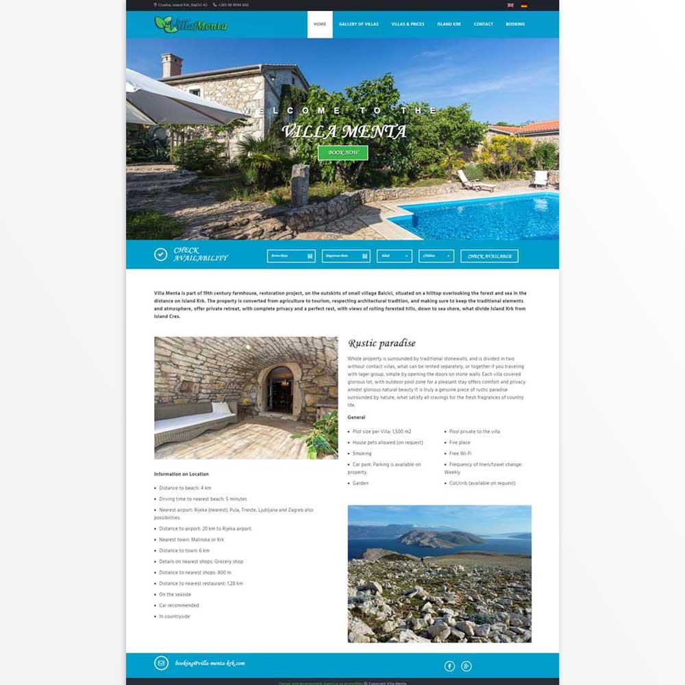 web stranica sa sustavom za rezervacije smještaja