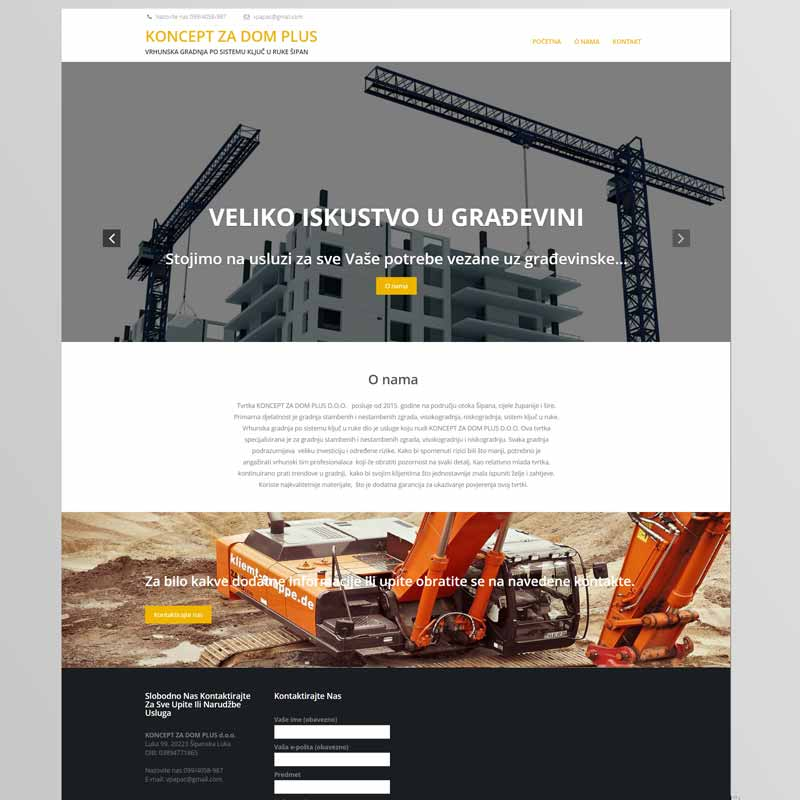 Izrada web stranice za građevinsko poduzeće